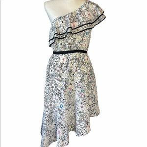 LIKELY WOMEN'S WHITE FLORAL ONE SHOULDER DRESS